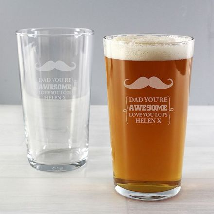 Personalised Pint Glass - Moustache